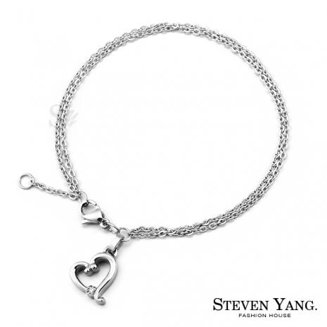 STEVEN YANG【KB580】珠寶白鋼「浪漫之心」手鍊 甜心小資女 不易掉鑽 *單個價格*