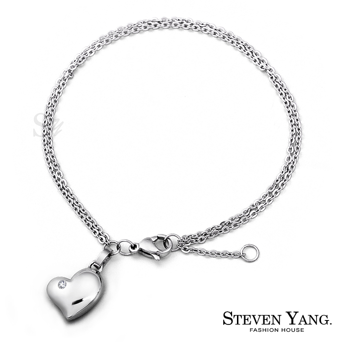 STEVEN YANG【KB602】珠寶白鋼飾「蜜糖甜心」鋼手鍊 愛心 不易掉鑽