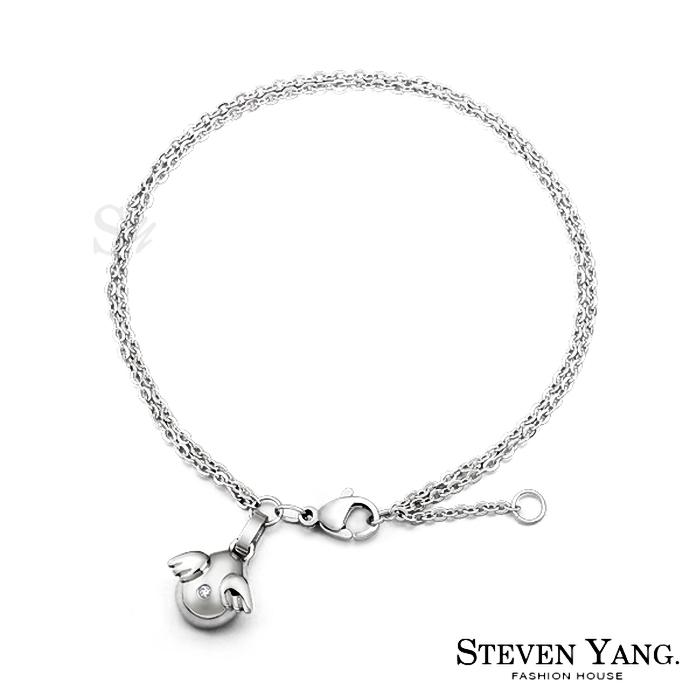 STEVEN YANG【KB594】珠寶白鋼「天使傳說」手鍊 小資女推薦 不易掉鑽