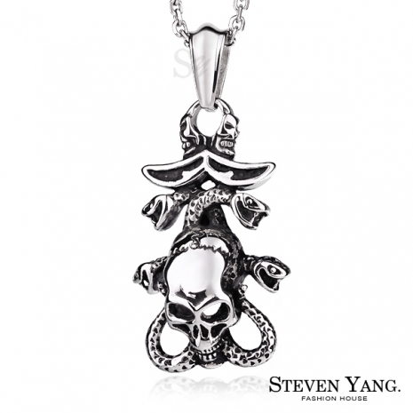 STEVEN YANG【KC3114】西德鋼飾「神鬼傳說」鋼項鍊 蛇骷髏 附鋼鍊*單個價格*