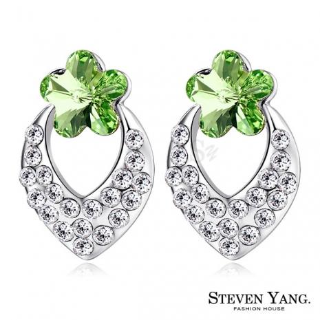 STEVEN YANG【KG4062】正白K飾「幸福小花」耳針式耳環 採用Swarovski 施華洛世奇水晶元素 抗過敏 *一對* 銀色B