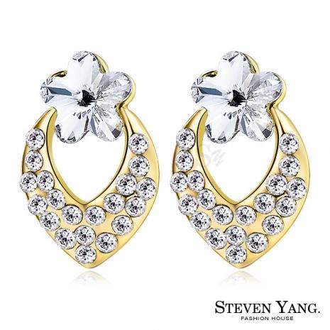 STEVEN YANG【KG4062】正白K飾「幸福小花」耳針式耳環 採用Swarovski 施華洛世奇水晶元素 抗過敏 *一對* 金色A