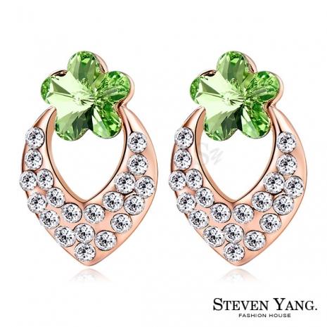 STEVEN YANG【KG4062】正白K飾「幸福小花」耳針式耳環 採用Swarovski 施華洛世奇水晶元素 抗過敏 *一對* 玫金B