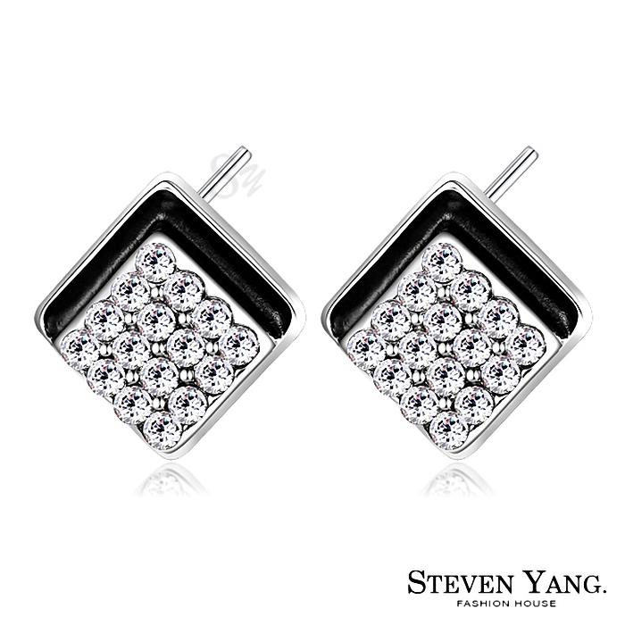 STEVEN YANG【KG4073】正白K飾「歡樂時光」耳針式耳環 採用Swarovski 施華洛世奇水晶元素 抗過敏 *一對* 白水晶