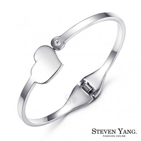 STEVEN YANG【KB4038】西德鋼飾「美麗世界」鋼手環 愛心 銀色 *單個價格*