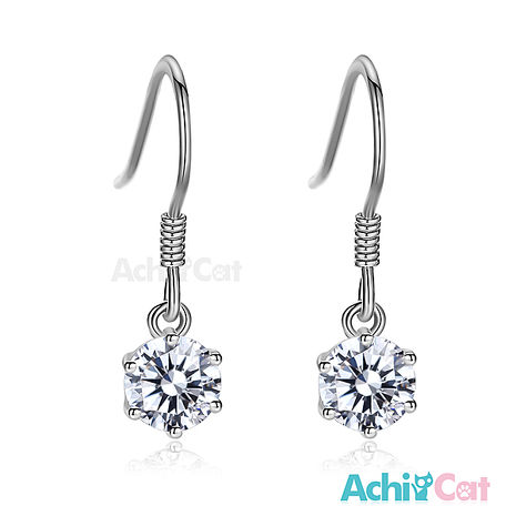 925純銀耳環 AchiCat 純銀飾 完美吸引力 5mm 擬真鑽 GS6136銀色