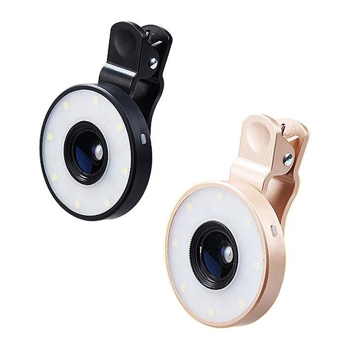 (APP搶購)四合一手機LED拍照補光燈鏡頭特效自拍神器金色