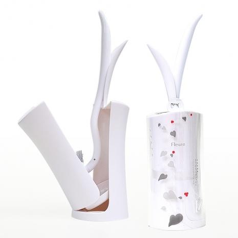 日本AISEN花葉造型馬桶刷座組(象牙白)