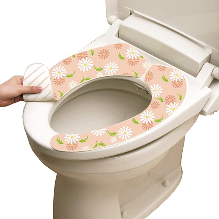 日本LEC抗菌防臭馬桶座墊貼(粉紅花卉)