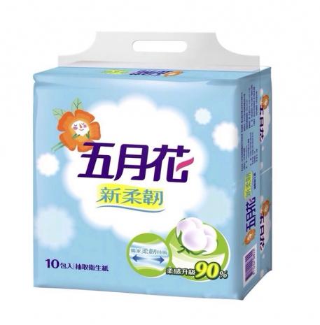 五月花新升級 新柔韌 抽取衛生紙-100抽x10包入x6袋(60包)/箱