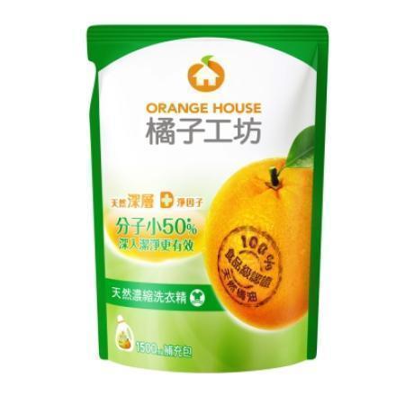 橘子工坊洗衣精補充包1500ML-6包/箱(綠)