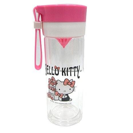 Hello Kitty雙層耐熱玻璃檸檬瓶(粉)-360ML-居家日用.傢俱寢具-myfone購物