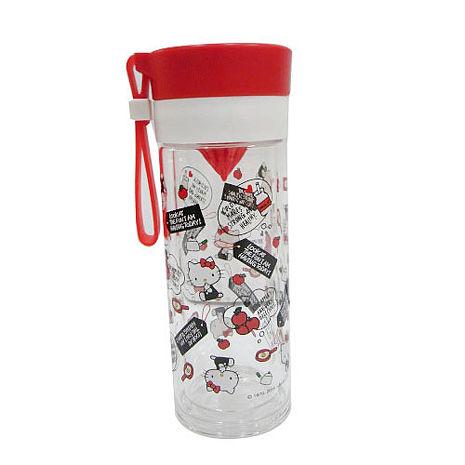 Hello Kitty雙層耐熱玻璃檸檬瓶(紅)-360ML-居家日用.傢俱寢具-myfone購物