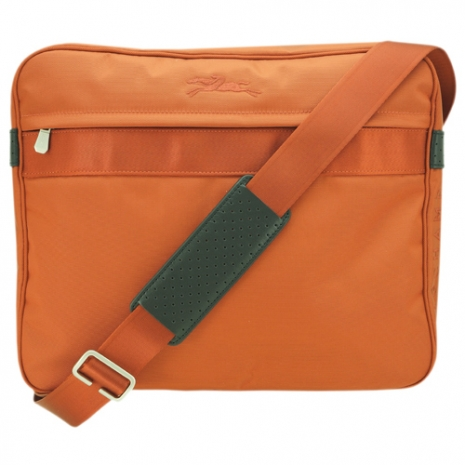 Longchamp輕量型布料設計刺繡馬匹logo斜背包(橘)