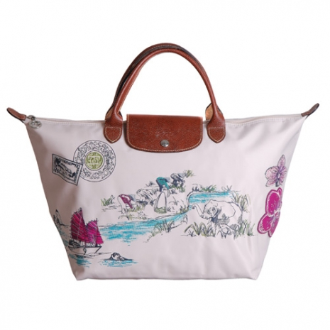 Longchamp Autour de Ha long 刺繡季節款短把水餃包(中.米紙)