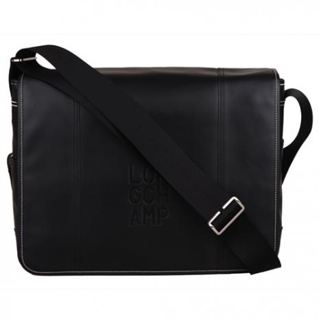 Longchamp Cavalier全皮革質感翻蓋斜背包/書包(大/黑內裡深駝)