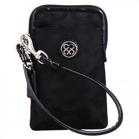 COACH 經典JULIA系列造型C LOGO織紋功能手機套(黑)