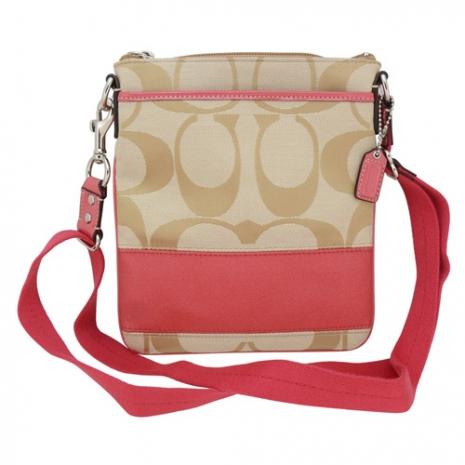 COACH 經典織布LOGO造型方型斜背包(粉紅)