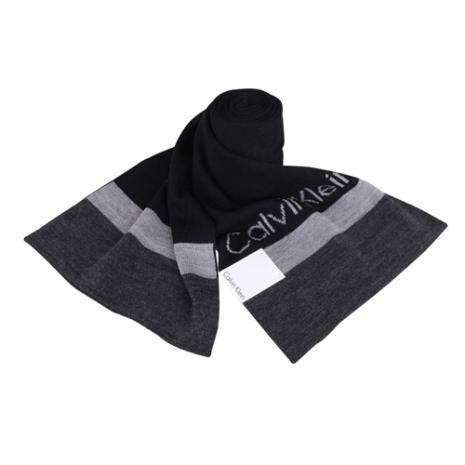 Calvin Klein 素面拼色LOGO橫條圍巾(黑)