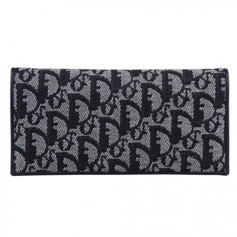 DIOR 經典緹花織布雙折長夾(黑)