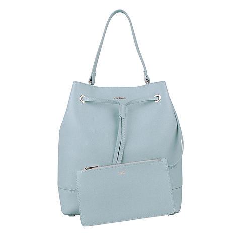 FURLA 皮革手提包附扁袋(天空藍)