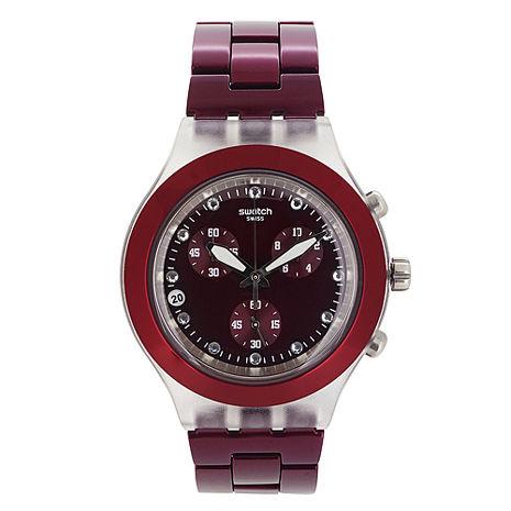 Swatch 三眼計時腕錶(酒紅)