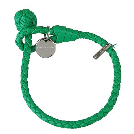 BOTTEGA VENETA 純手工編織單環小羊皮手環(M/草綠)