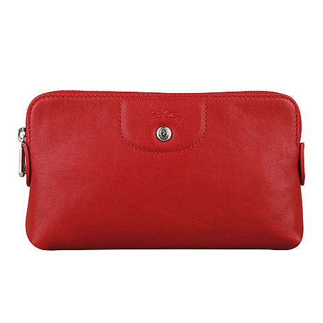 LONGCHAMP Le Pliage Cuir小羊皮系列拉鍊手拿包(紅)