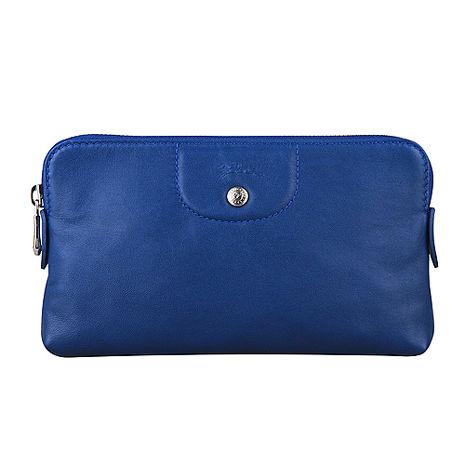LONGCHAMP Le Pliage Cuir小羊皮系列拉鍊手拿包(寶藍)-美妝‧保養‧香氛‧精品-myfone購物