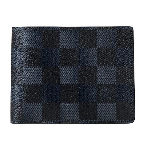 LV N62239 經典棋盤格紋 Damier Cobalt 帆布造型 SLENDER對折短夾(黑藍)