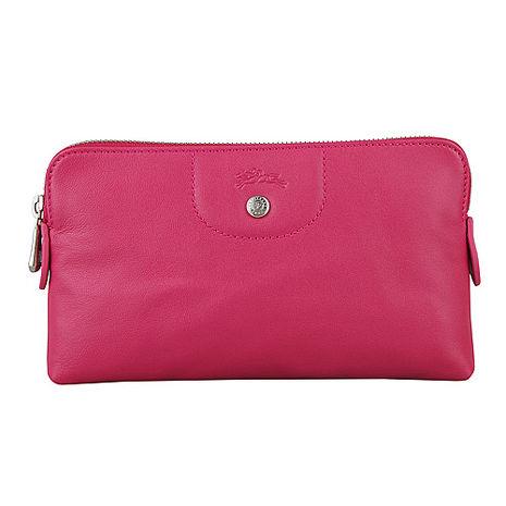 LONGCHAMP Le Pliage Cuir小羊皮系列拉鍊手拿包(粉紅)-美妝‧保養‧香氛‧精品-myfone購物