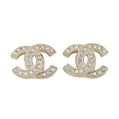 CHANEL 經典雙C LOGO水鑽鑲嵌滾邊壓紋金屬穿式耳環(金)