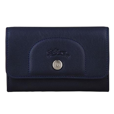 LONGCHAMP Le Pliage Cuir系列羊皮扣式零錢包(海軍藍)-美妝‧保養‧香氛‧精品-myfone購物