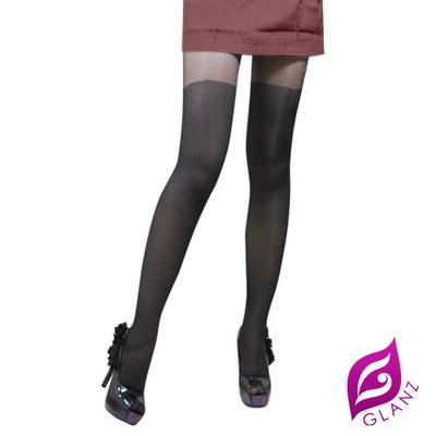 【GLANZ 格藍絲】魅惑系小惡魔纖腿彈性假膝上絲襪-經典低調款