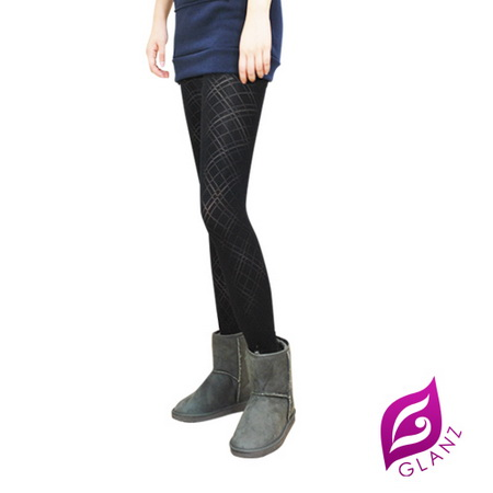GLANZ 格藍絲 320丹 韓版究極顯瘦塑身美腿內搭九分襪-經典透膚斜格紋