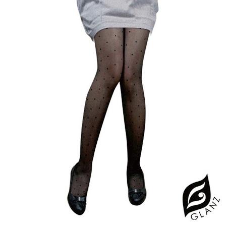 【GLANZ格藍絲】日系甜美辛辣造型顯瘦透膚襪-復古圓點