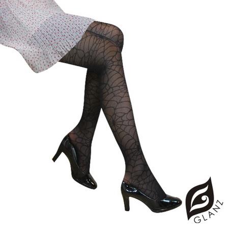 【GLANZ格藍絲】日系甜美辛辣造型顯瘦透膚襪-蛛網貴婦