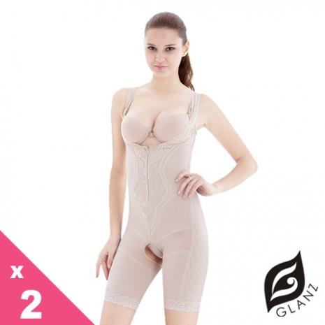 【GLANZ 格藍絲】280丹經典素雅提花機能美體防駝塑身衣x2件組