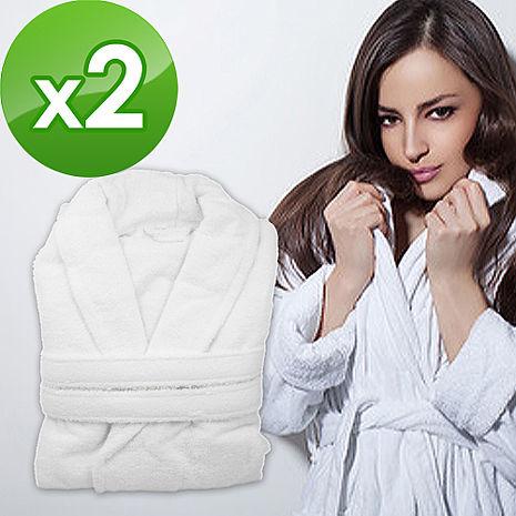【花季-LJ】五星飯店款100%純棉舒柔保暖歐式浴袍x2件組