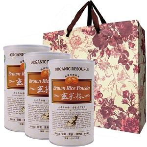 【台灣綠源寶】玄米粉3罐新春提袋組(500g/罐)