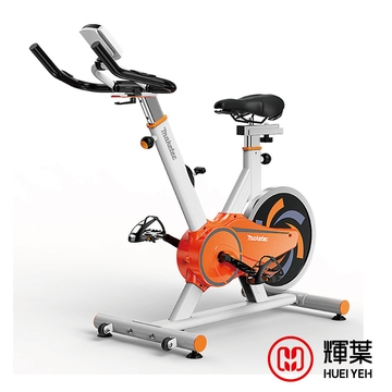 (送地墊)輝葉 後驅動飛輪健身車(活力白橙)