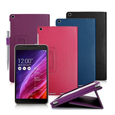 ASUS MeMO Pad 8 ME181C / ME181 支架磁扣荔枝紋 書本式保護套 皮套-手機平板配件-myfone購物