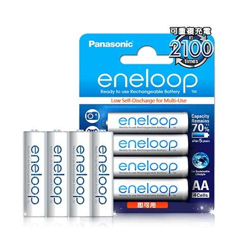國際牌Panasonic eneloop 低自放鎳氫充電電池(3號4入) 贈電池盒