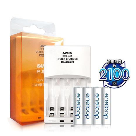 三洋智慧型充電器+Panasonic eneloop 低自放4號充電電池(4顆入) 贈電池盒