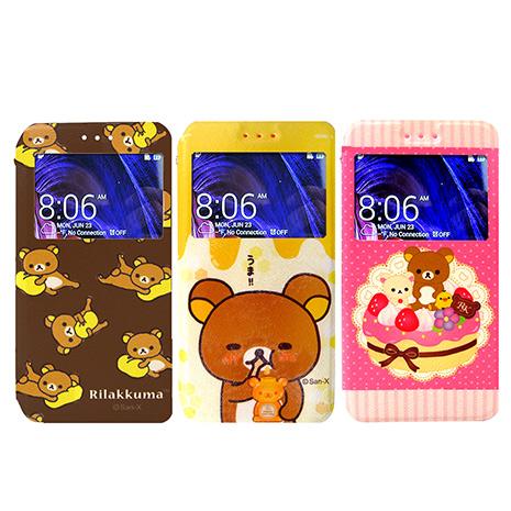 日本授權正版 懶懶熊/拉拉熊/Rilakkuma ASUS ZenFone 5 / A500CG 彩繪視窗手機皮套(團聚款)