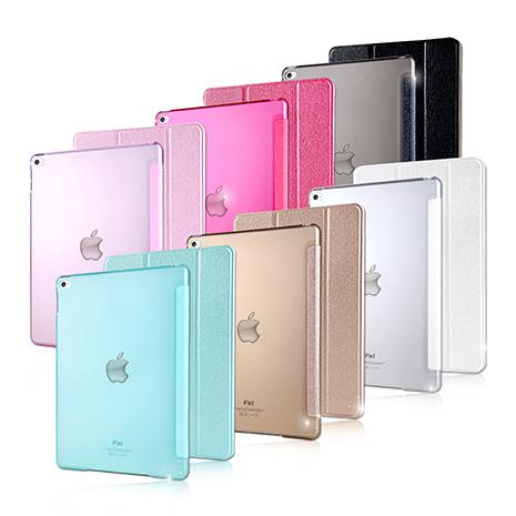 【VXTRA】 iPad Air 2 / ipad 6 清透蜜糖紋 超薄三折保護套歐法式粉