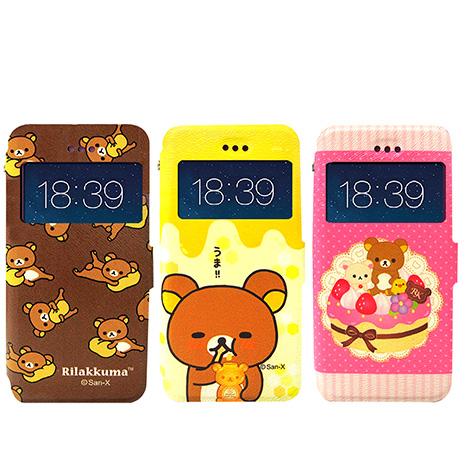 日本授權正版 懶懶熊/拉拉熊/Rilakkuma iPhone 6s+/6 plus 5.5吋 i6+ 彩繪視窗手機皮套(團聚款)