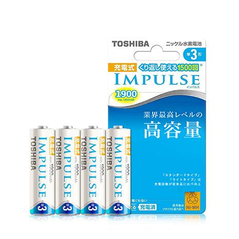 東芝TOSHIBA IMPULSE 1900mAh低自放3號充電電池TNH-3M (4顆入) 贈電池盒