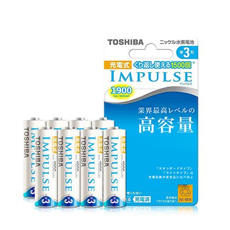 東芝TOSHIBA IMPULSE 1900mAh低自放3號充電電池TNH-3M (8顆入) 贈電池盒