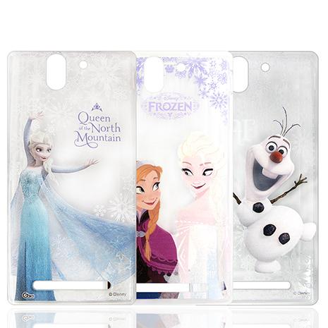 迪士尼授權正版 冰雪奇緣Frozen SONY Xperia C3 D2533 透明彩繪軟式保護殼 手機殼安娜&艾莎